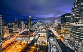 Обои город, огни, дома, вечер, Канада, Торонто