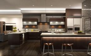 Обои дизайн, кухня, table, kitchen, design, модерн, interior, стол, интерьер, стиль