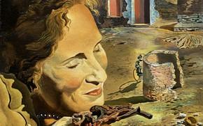 Картинка сюрреализм, картина, Сальвадор Дали, Salvador Dali, Портрет Гала с Двумя Ягнятами