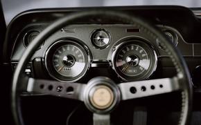 Картинка Mustang, Ford, Авто, Ретро, Машина, Панель, Салон, Спидометр, Форд, Арт, Руль, Fastback, 1968, Ford Mustang ...
