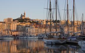 Картинка город, Франция, корабли, порт, Марсель