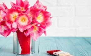 Обои love, розовые тюльпаны, pink, romantic, тюльпаны, 8 марта, tulips, букет, краски, цветы