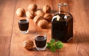 Картинка вино, алкоголь, орехи, мята, nuts, drinks, bottle