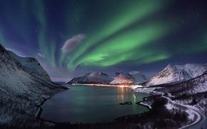 Обои фьорд, северное сияние, Норвегия, горы, ночь, море