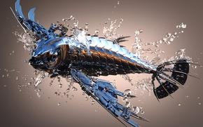 Картинка вода, металл, блеск, рыба, 3Ds