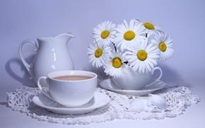 Картинка кофе, ромашки, кувшин, camomiles, bouquets