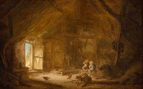 Картинка дерево, масло, картина, Интерьер Конюшни с Тремя Детьми, Исаак ван Остаде