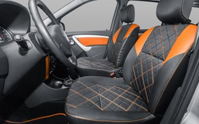Картинка серый, руль, вид сбоку, салон, orange, Lada Largus