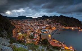 Картинка горы, побережье, панорама, залив, Португалия, ночной город, Мадейра, Portugal, Атлантический океан, Atlantic Ocean, Madeira, Machico …