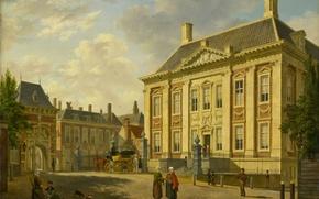 Картинка картина, городской пейзаж, Маурицхёйс в Гааге, Bartholomeus Johannes van Hove