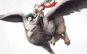 Картинка anime, wings, hero, manga, powerful, strong, yuusha, Griffin, mythological animal, Boku no Hero Academia, My …