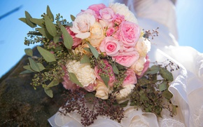 Картинка цветы, розы, букет, невеста, свадьба