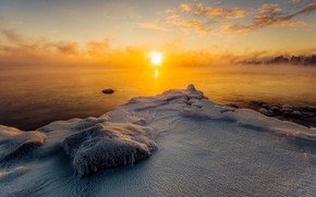 Обои природа, лёд, утро