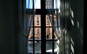 Картинка city, colorful, light, europe, view, old, window, castle, architecture, sunlight, building, беларусь, несвиж