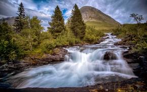 Картинка деревья, гора, Норвегия, речка, каскад, Norway, Romsdal, Valldalfoss, Ромсдал