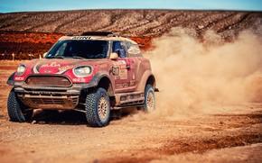 Картинка Песок, Mini, Пыль, Спорт, Скорость, Гонка, Rally, Dakar, Дакар, Внедорожник, Ралли, X-Raid Team, MINI Cooper, ...