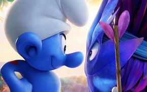 Картинка hat, heart, blue, chibi, tatoo, warrior, animated film, animated movie, Smurfs The Lost Village, Smurfs …