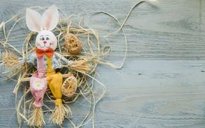 Картинка праздник, весна, кролик, Пасха, wood, rabbit, декор, Easter, eggs