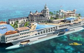 Обои проект, superyacht, Futuristic, яхта-остров, gesign, Yacht-city, Streets of Monaco