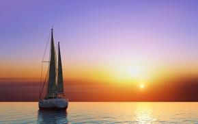 Обои море, небо, солнце, закат, графика, яхта, горизонт, зарево, паруса