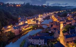 Картинка город, огни, река, Франция, вечер, France, Dinan
