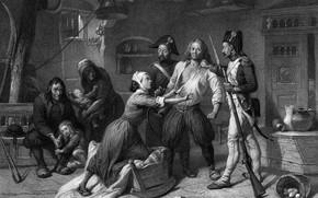 Картинка чёрно - белое, французская революция, гравюра, Арест роялиста, 1793
