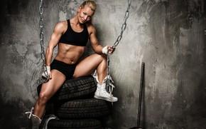 Картинка поза, фигура, фитнес, цепи, мышцы, figure, muscles, бинты, кувалда, pose, атлет, fitness, gym, chains, athlete, …