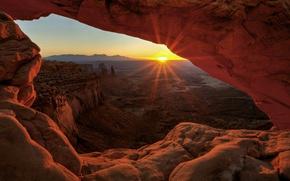 Картинка солнце, закат, горы, скалы, ущелье, Юта, США, национальный парк, Каньонлендс