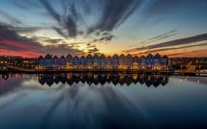 Картинка огни, отражение, дома, вечер, Нидерланды, Хаутен