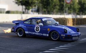 Картинка car, асфальт, синий, ретро, пламя, спорт, 911, Porsche, колеса, wallpaper, sport, flame, порше, blue, retro, ...
