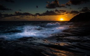 Картинка Clouds, Coast, Water, Sunset, Ocean, Gold, Stones, Waves, HDR+