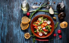 Картинка хлеб, овощи, помидоры, wood, огурцы, салат, специи