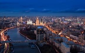 Обои ночь, city, lights, огни, Москва, Russia, Moscow, panorama view