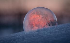 Обои узор, шар, мороз, мыльный пузырь