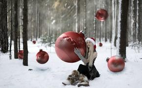 Обои девушка, лес, праздник, игрушки, шары