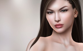 Картинка девушка, волосы, портрет, брюнетка