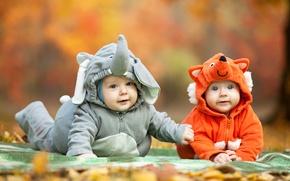 Картинка осень, взгляд, дети, костюм, малыши, child, Foxes, Elephants, Infants