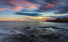 Картинка закат, побережье, Испания, Мурсия