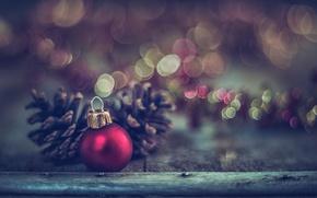 Обои шарик, украшения, новый год, доски, макро, игрушка, боке
