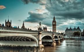 Картинка мост, город, река, Англия, Лондон, Темза