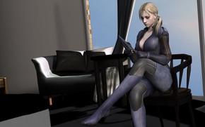 Картинка девушка, комната, сидит