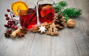 Обои tea, punch, шишка, Рождество, cookies, orange, печенье, глинтвейн, wine, merry christmas, Новый Год, decoration