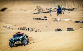 Картинка Песок, Mini, Спорт, Пустыня, Скорость, Вертолет, Rally, Dakar, Дакар, Ралли, Дюна, Buggy, Багги, X-Raid Team, …