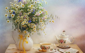 Картинка чай, ромашки, букет, чайник, книга, натюрморт, васильки, сушки
