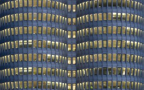 Обои Architektur, geometric, building, window, Blue Hour, lines, BMW-Hochhaus, München