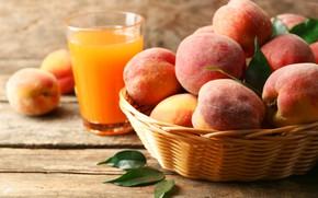 Картинка листья, сок, фрукт, персики