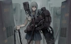 Картинка girl, gun, fantasy, mecha, weapon, oppai, seifuku, japonese