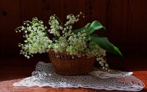 Картинка цветы, корзинка, ландыши