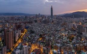 Картинка башня, дома, вечер, панорама, Тайвань, Тайбэй