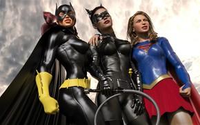 Картинка женщины, небо, тучи, костюмы, catwoman with other heroes